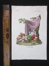 1853 LUSSURIA ANTICA STAMPA ACQUERELLATA ENGRAVING ANTIQUE MITOLOGIA D474
