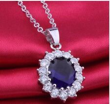 Vintage Classic Oval Blue Sapphire, Crystal Pendant Chain Necklace Royalty Gift