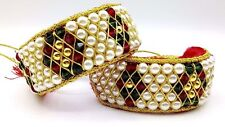 TRADITIONAL CUFF BRACELET PUNCHI GOLD & COLOR BEADS STRUNG IN CHORD INDIA