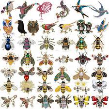 Wholesale Birds Owl Bee Animals Crystal Enamel Brooch Pin Retro Women Jewellery