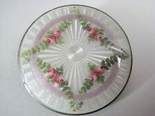 Antique Sterling Silver Pink Ribbon Garlands Flowers Guilloche Enamel Brooch Pin
