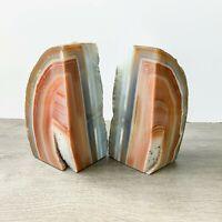 Burnt Orange Agate Bookends A+ Quality Quartz Crystal Geode Center Book End