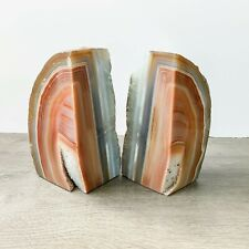Burnt Orange Agate Bookends A+ Quality Quartz Crystal Geode Center Book End