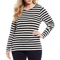 Michael Kors Women's 1x Plus Size Long-Sleeve Top Striped  Shirt, $74, NwT