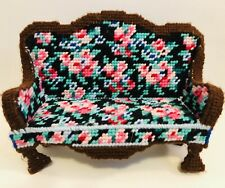 Vintage Needlepoint Miniature Couch Sofa Doll Furniture Handknit Colourful