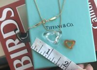 Tiffany & Co Elsa Peretti Large Rock Crystal 18k Yellow Gold Open Heart Necklace