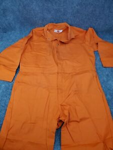 VTG Mens 48 Adolphe Lafont Orange Coveralls Made in USA Mechanic Jumpsuit Zip