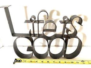 Life is Good 3-D Iron Word Table Shelf Sign Industrial Rustic Farmhouse Decor
