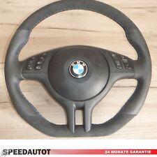Aplati Alcantara Volant en Cuir BMW E46 E39 avec Écran Multifonction (Noir)