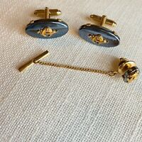Anson Vintage Light Blue Gold Tone Cuff Links And Tie Clip Set