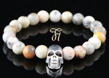 Marble Agate 0 5/16in Bracelet Pearl Bracelet Silver-Coloured Skull