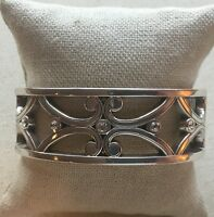 Brighton Celtic Scroll Bangle Wide Hinged Rhinestone Silver-Tone Reversible 7/8""