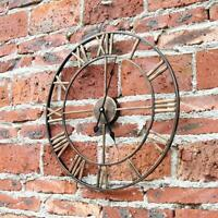 sundely Large Golden Roman Numeral Wall Clock for Home / Garden / Outdoor 47cm