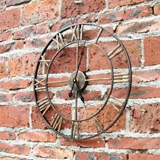 Roman Numeral Wall Clock Golden Metal Indoor Outdoor Outside Room Large Ticking