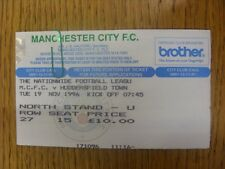19/11/1996 Ticket: Manchester City v Huddersfield Town (Creased). Any faults are