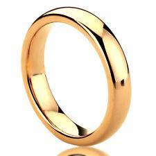 Men Women  Engraving 4MM Titanium Wedding Band Domed Ring Rose Gold Tone