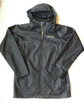 Columbia Girls Rain Coat Jacket Medium 10/12 Black Purple Polka Dots Hood CUTE!
