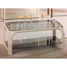 Tavolino da salotto moderno rettangolare in legno noce, bianco o nero e vetro