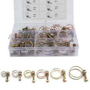 42Pcs Iron Adjustable Double Wire Hose Clamp Steel Tube Pipe Clip Assortment Kit