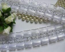 "1-3/8"" White/ Silver Ruffle Box Pleated Sheer Organza Ribbon Bridal-1 Yard-T511W"
