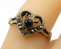 925 Sterling Silver - Vintage Black Onyx & Marcasite Love Heart Ring Sz 7  R3551