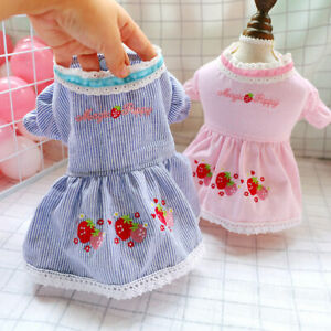 Pet Clothes Dog Cat Summer Strawberry Striped Princess Skirt Poodle Puppy Dress