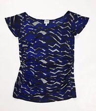 Armani collection top maglia 40 41 estiva manica corta usata blu arricciat T1931
