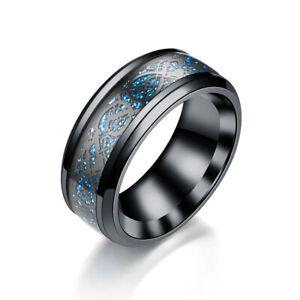 Titanium Mens/Women Finger Ring Dragon Celtic Gold Silver Black Fashion Gift UK