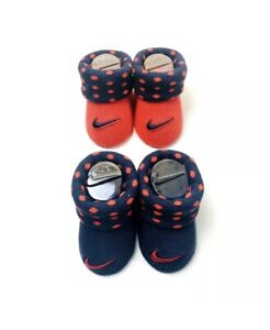 2 Pair Nike Baby Booties, Size 0-6 Months, Navy Blue & Red Gift Set