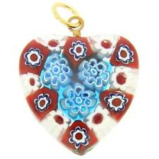 GlassOfVenice Murano Glass Millefiori Heart Pendant Medium - Red and Blue
