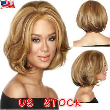 US Golden Brown Short Wavy Natural Full Wig Women Dark Top Real Human Hair Wigs