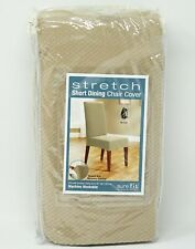 """Sure Fit Stretch Short Dining Chair Cover Slipcover 19"""" W x 18"""" D x 42"""" H -Cream"""