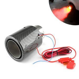 63mm Universal Carbon Fiber Look Car Exhaust Tip Muffler Pipe Steel w/ LED Light