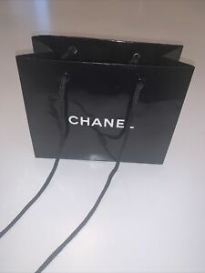 Chanel Logo Glossy Black Shopping Tote Gift Bag