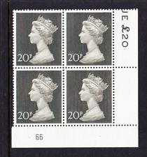 Gran Bretaña 1970 20p placa 66 en papel Bradbury estampillada sin montar o nunca montada.