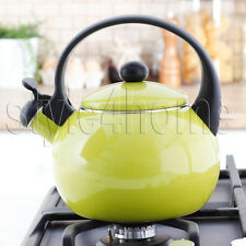 ENAMEL Stainless Steel WHISTLING Kettle Electric Gas HOBS Stove Top GREEN