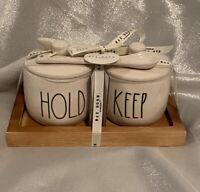 RAE DUNN HOLD/KEEP Wood Tray Cellar Sugar/Honey Home NEW Farmhouse ll Gift Set
