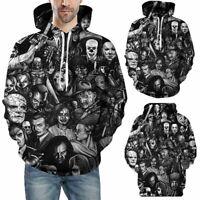 Men Horror Movie Hoodie Cosplay Costume Hooded Jacket Pullover Sweatshirt Tops