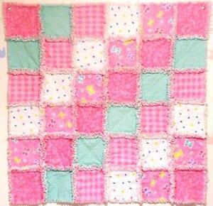 Handmade Baby Girl Pink Green Rag Quilt* / Blanket Gift