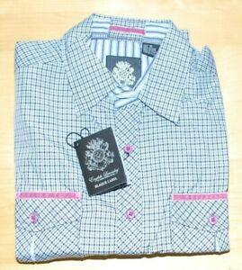 English Laundry BLAQUE LABEL Mens Dress Shirt Collared Dark Red Check L 1212