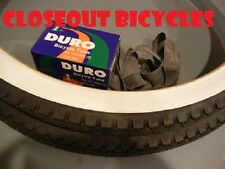 "2 DURO White Wall Tires Tubes + RIM STRIPS 26"" x 2.125"" Cruiser Tire Bicycle"