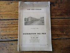 LORRAINE - LYCEE HENRI POINCARE NANCY DISTRIBUTION DES PRIX 1942