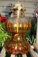 AMBER GLASS KEROSENE LAMP-VINTAGE