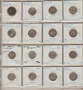 Collection of 16 Belgium Coins 2 Centimes to 1 Franc 1861 to 1940