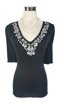 NWT YARRA TRAIL Top - Black Short Sleeve V-Neck Beaded Pearl Sequin Stretch S/10