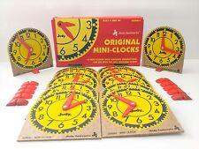 Judy/Instructo Original Mini Clocks Set of 12 With Stands J209041 Wood & Plastic
