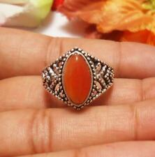 "Carnelian Gemstone Ring 925 Silver Plated UK Size P, US 8"" U224-B113"