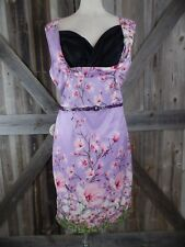 f1e62b936f7 LINDY Bop Vanessa Lilac Floral Rockabilly Pinup Belted Pencil Sheath Dress