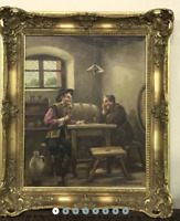 Rare!! Vintage Antique Rare Original Canvas Old Oil painting wood Germany Signed