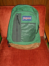 Vtg JANSPORT Backpack SUEDE Leather  10-001 USA Vintage Green